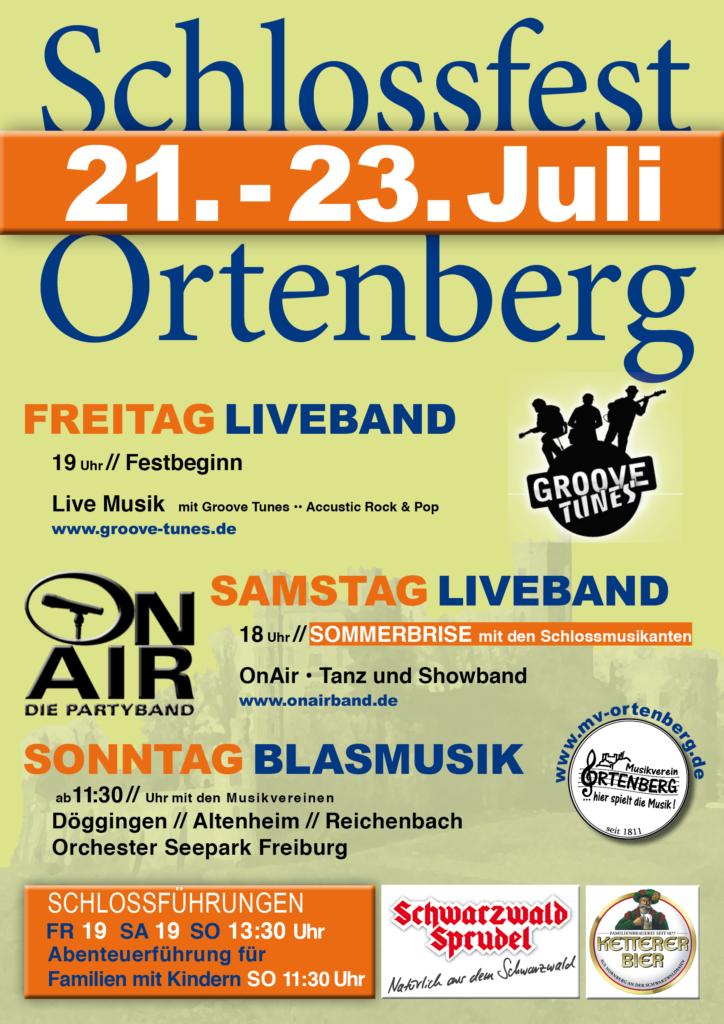 Freitag Liveband mit den Groove Tunes, Samstag Liveband mit OnAir die Partyband, Sonntag Blasmusik